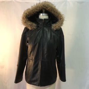 Worthington Genuine Lambskin Hooded Jacket
